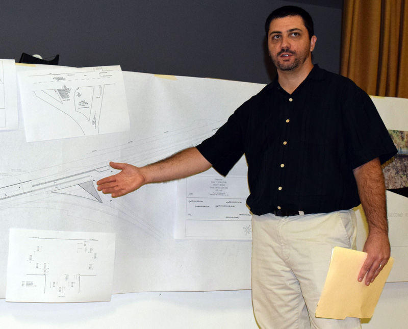 Matt Philbrick gestures to a diagram as he explains the Maine Department of Transportation's plan for improvements to the intersection of Route 1 and Route 27 in Edgecomb during a public hearing at the Edgecomb town hall Tuesday, Oct. 10. (J.W. Oliver photo)