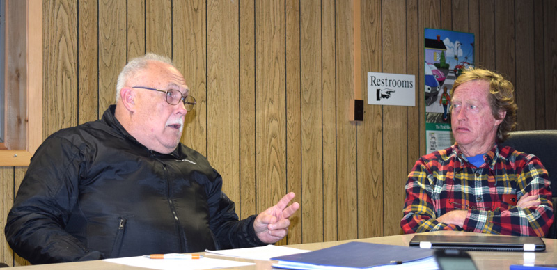 Edgecomb Planning Board members Barry Hathorne (left) and David Nutt discuss recreational marijuana during a meeting at the town hall Thursday, Oct. 19. (J.W. Oliver photo)
