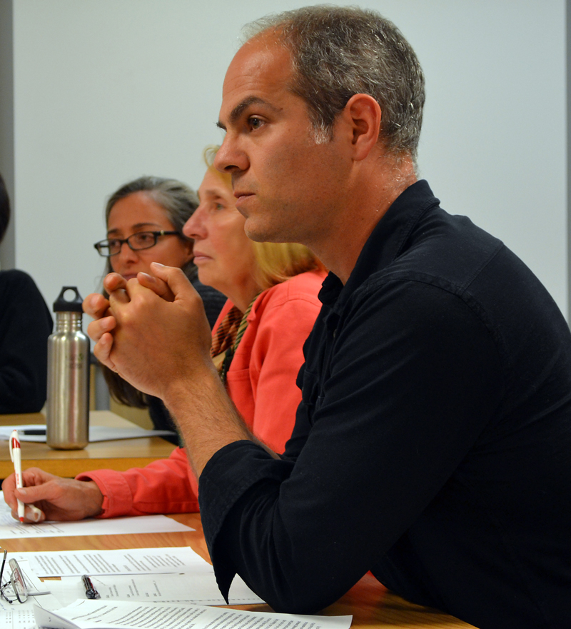 Great Salt Bay School Committee member Joshua Jacobs, of Newcastle, discusses the shortage of bus drivers at Great Salt Bay Community School during a meeting Wednesday, Oct. 11. (Maia Zewert photo)
