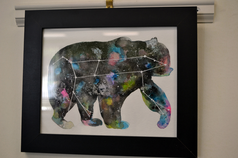 Jillian Brazel's colorful, untitled watercolor take on the constellation Ursa Major is one of nine pieces she has hanging on the walls of Shapers Fitness Gym in Damariscotta. (Christine LaPado-Breglia photo)