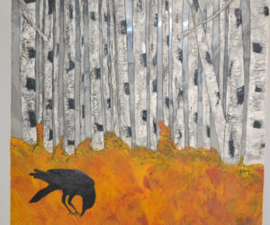 """Crow, Autumn Birch Forest,"" an 18-by-18-inch encaustic piece by ""kdb"" Dominguez. (Christine LaPado-Breglia photo)"