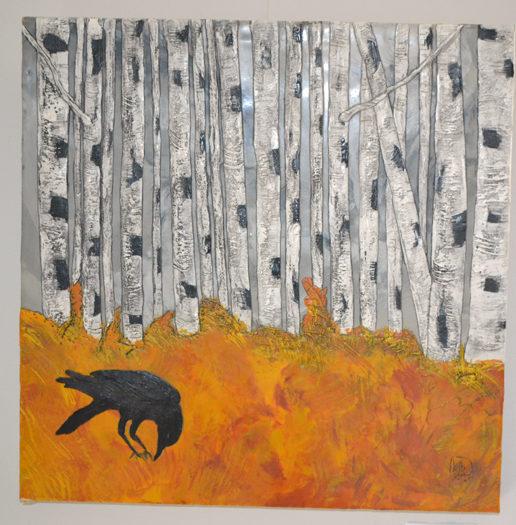 """""""Crow, Autumn Birch Forest,"""" an 18-by-18-inch encaustic piece by """"kdb"""" Dominguez. (Christine LaPado-Breglia photo)"""