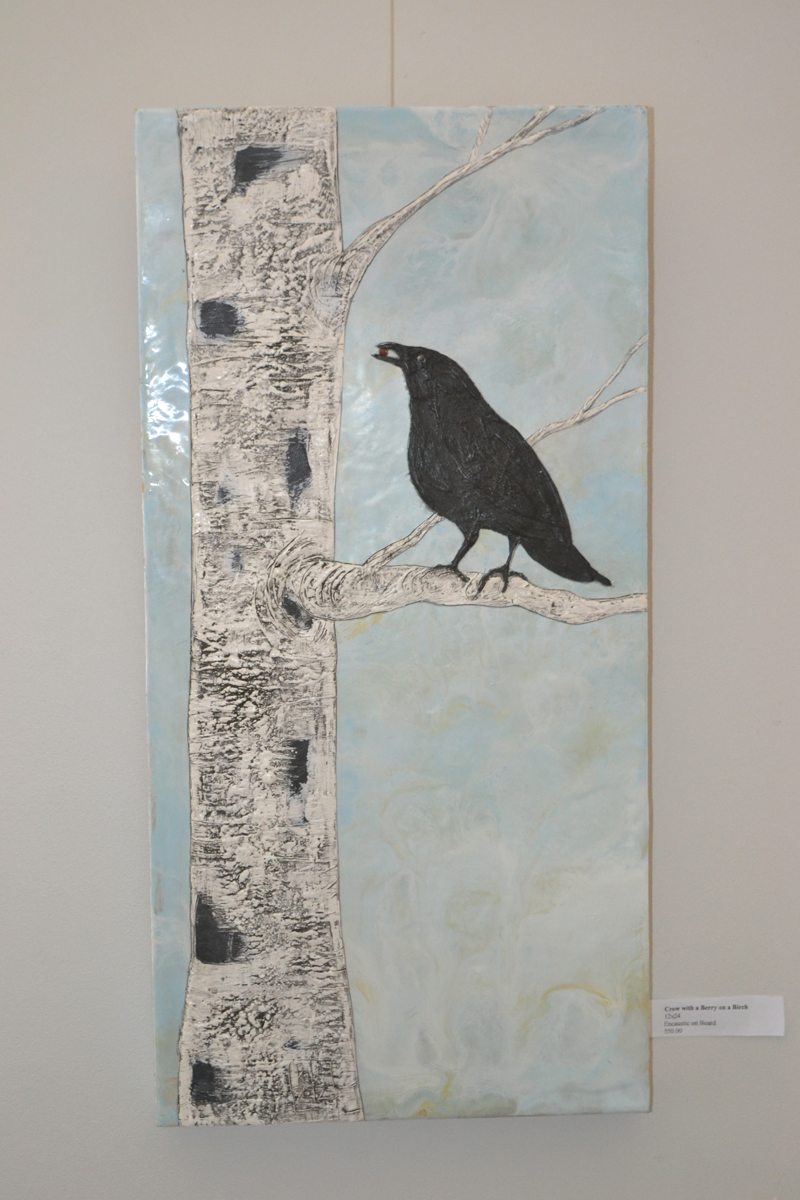 """Crow with a Berry on a Birch,"" an encaustic painting by ""kdb"" Dominguez. (Christine LaPado-Breglia photo)"
