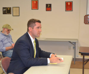 District Attorney Jonathan Liberman presents the 2018 budget for the Lincoln County District Attorney's Office to the Lincoln County Budget Advisory Committee on Thursday, Oct. 12. (Charlotte Boynton photo)