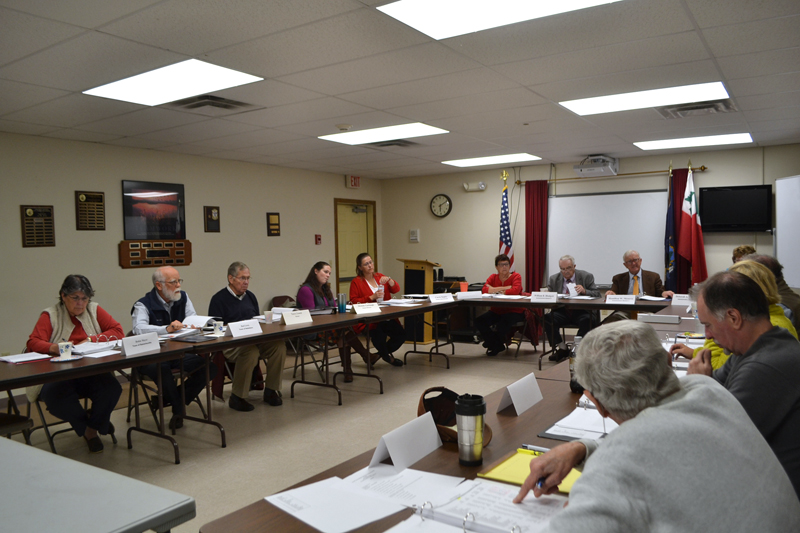 The Lincoln County Budget Advisory Committee meets in the conference room of the Lincoln County Communications Center in Wiscasset on Thursday, Oct. 12. (Charlotte Boynton photo)