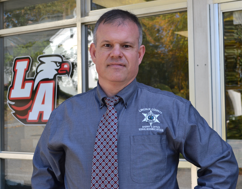Lincoln County Sheriff's Deputy Chad Gilbert is the new school resource officer at Lincoln Academy. (Maia Zewert photo)