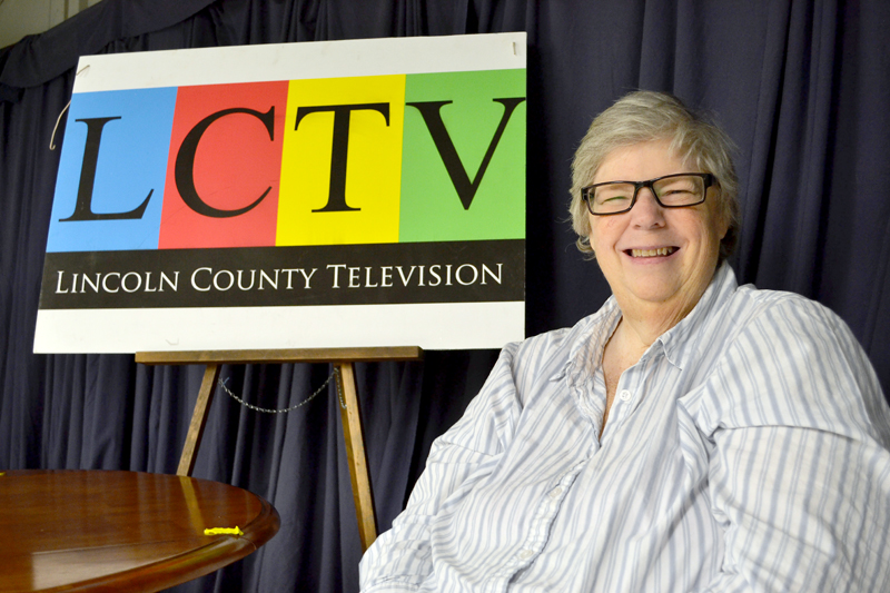 Lincoln County Television Executive Director Mary Ellen Crowley in the station's studio in Newcastle. (Maia Zewert photo)