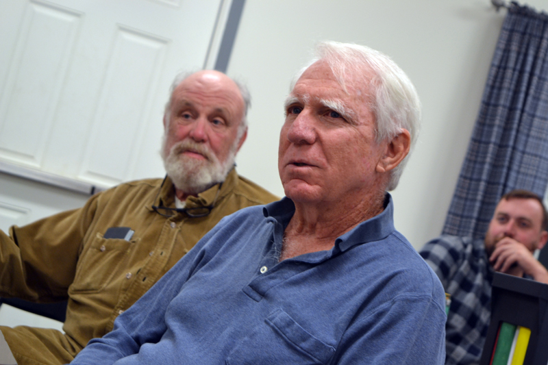 From left: Whitefield Planning Board Chair Jim Torbert and board members Stephen Sheehy and Jake Mathews listen to a presentation by Lincoln County Planner Robert Faunce on Wednesday, Oct. 18. (Christine LaPado-Breglia photo)