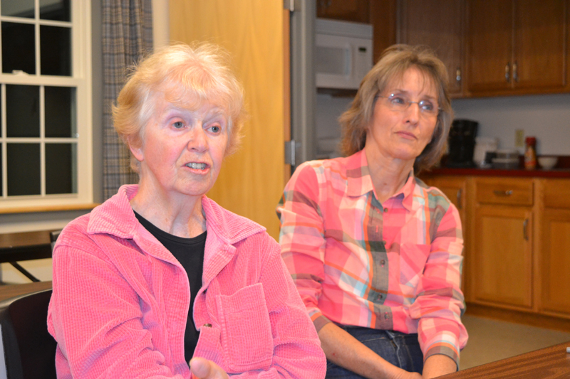 Whitefield residents Libby Harmon (left) and Lucy Martin weigh in during the portion of the Tuesday, Oct. 10 meeting of the Whitefield Board of Selectmen concerning a recent accident involving a motor vehicle and a horse-and-buggy. (Christine LaPado-Breglia photo)