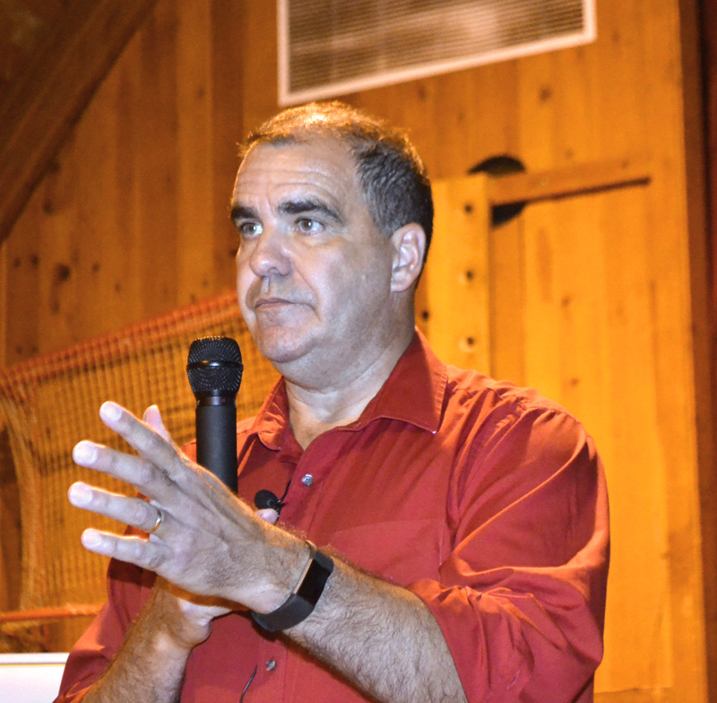 Maine Department of Transportation Project Manager Ernie Martin address Wiscasset business owners and residents during a meeting at Wiscasset Elementary School on Thursday, Oct. 5. (Charlotte Boynton photo)