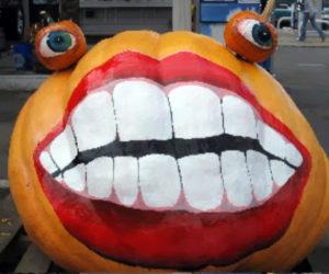 A decorated Atlantic Giant pumpkin.