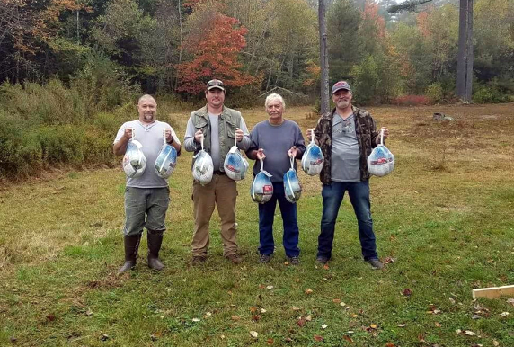 Top Shots all received a turkey for a prize. From left: Steve Termine, Allen Spinney, Frank Spinney, and Tommy Johnson. Not pictured: Nathan Simmons and Bo Finch. and Left to right: Steve Termine, Allen Spinney, Frank Spinney, Tommy Johnson