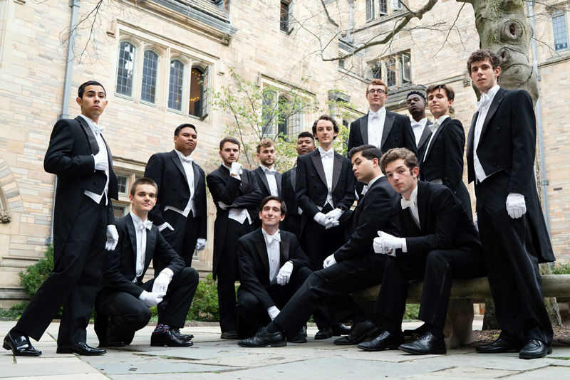 The 2017-2018 Yale Whiffenpoofs, featuring Lincoln Academy graduate Eli Daiute. The Whiffenpoofs will perform at the Second Congregational Church in Newcastle on Sunday, Nov. 12 at 4 p.m.