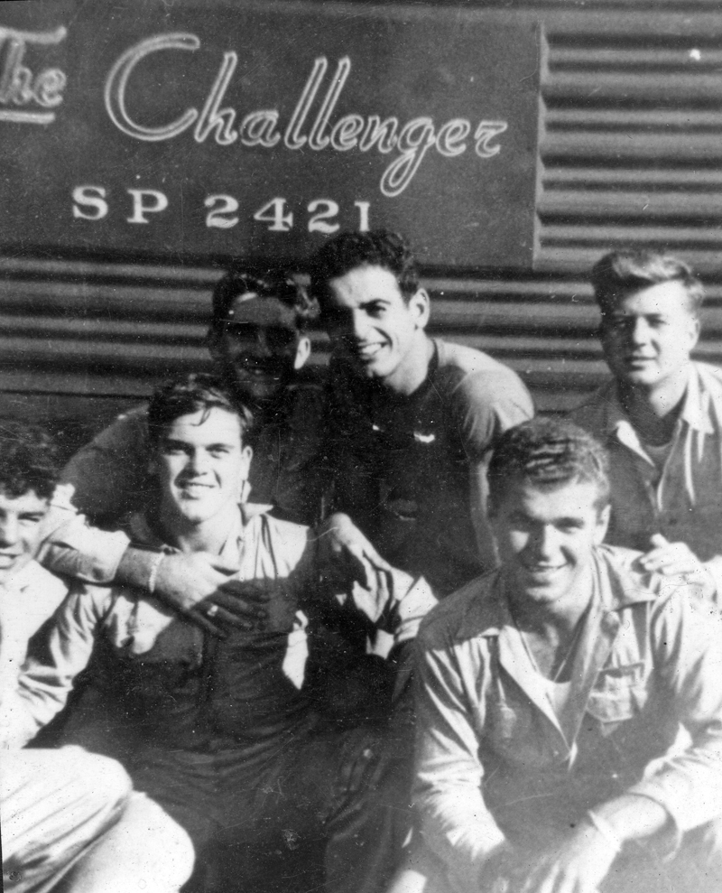 Ralph Moxcey (front left) with some of his military buddies during a cross-country train trip in the U.S.