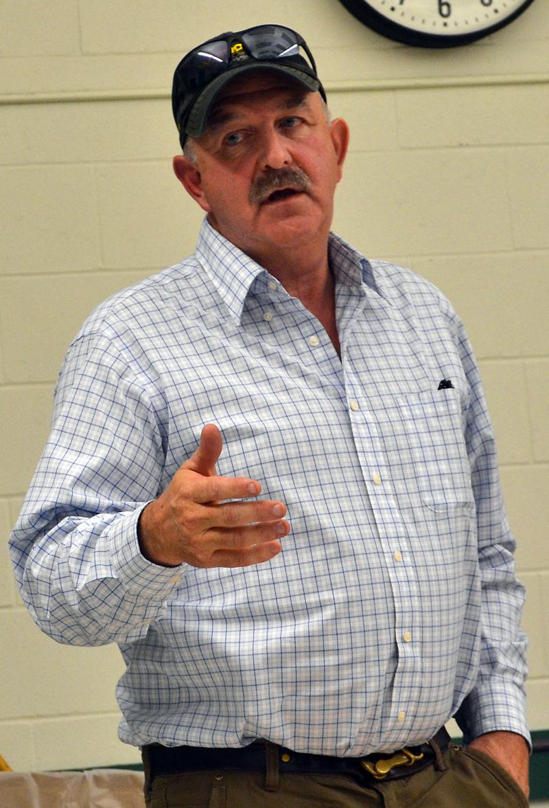 Damariscotta Selectman Mark Hagar speaks during a community conversation about the regulation of recreational marijuana businesses at Great Salt Bay Community School on Tuesday, Nov. 16. (Maia Zewert photo)