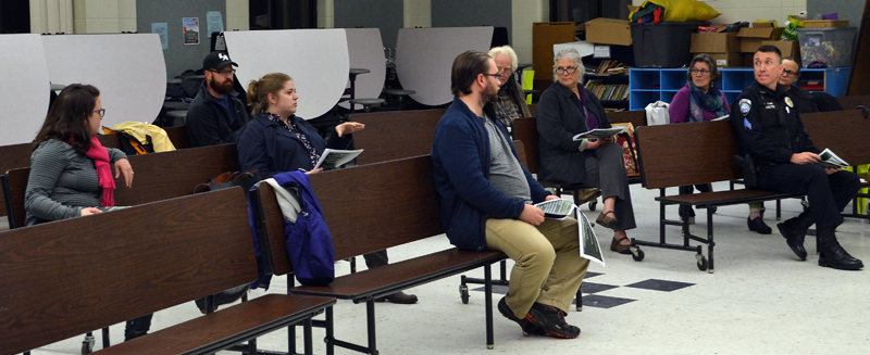 A handful of Damariscotta residents and other community members participate in a community conversation about the regulation of recreational marijuana businesses at Great Salt Bay Community School on Tuesday, Nov. 16. (Maia Zewert photo)