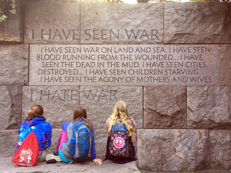 Damariscotta Montessori School middle-school students visit the Franklin Delano Roosevelt Memorial in Washington, D.C.