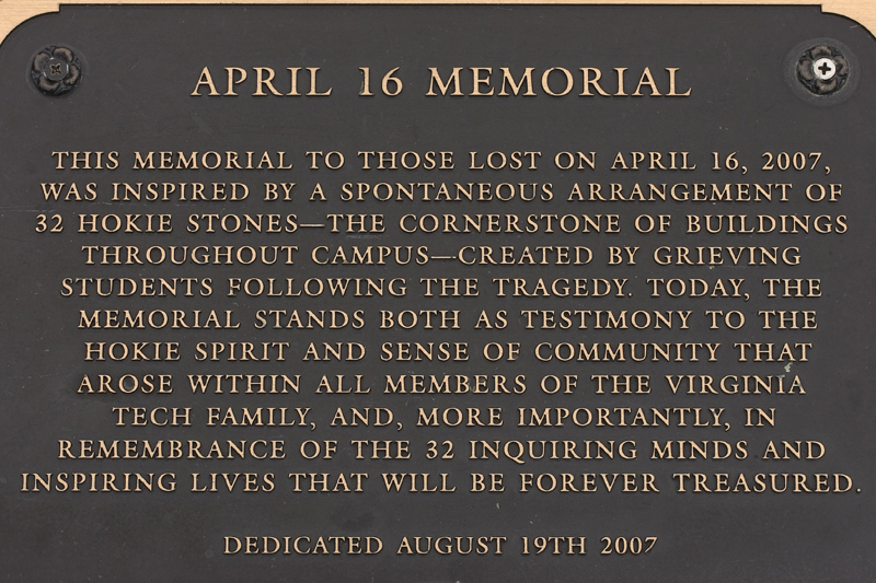 "A plaque at Virginia Tech honors the 32 students and faculty members who were shot and killed by a student armed with two semiautomatic pistols. ""Guns in USA"" documentary producer Tom Mathews traveled to Blacksburg, Va., where Virginia Tech is located, to record voices speaking about gun violence in the United States on Oct. 1, the same day that Stephen Paddock opened fire on a country music concert in Las Vegas, killing 58 people. (Photo courtesy Tom Mathews)"