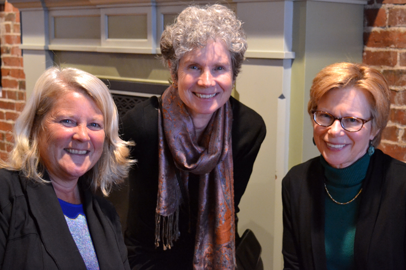 From left: Kimberly Skillin Traina, Cate Cronin, and Sandi Hammond attend the Wednesday, Oct. 25 opening reception for the Anne Cronin-Susan Parrish Carter art show at Damariscotta River Grill. (Christine LaPado-Breglia photo)