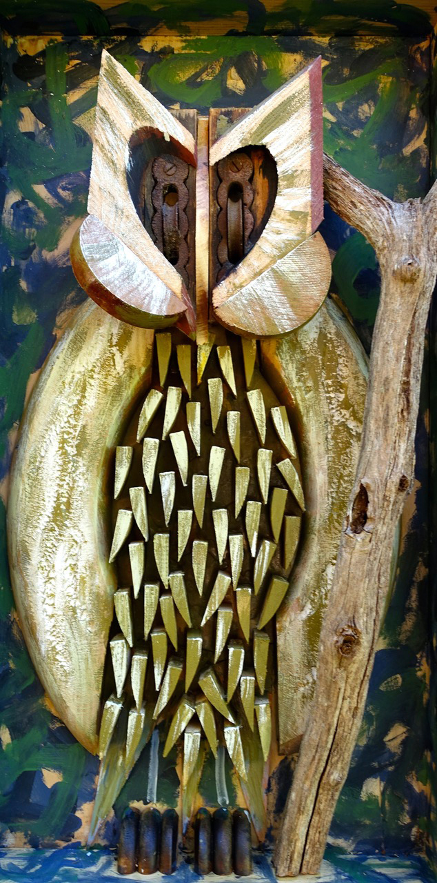A wooden owl sculpture made from found objects by Boothbay Harbor artist Andre Benoit. (Photo courtesy Legacy Properties Sotheby's International Realty)