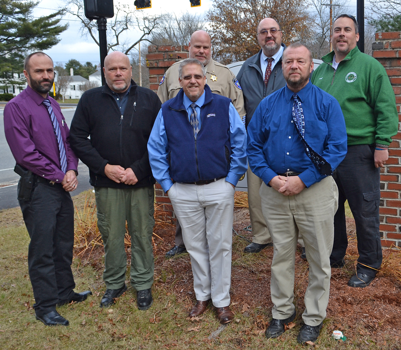 The Lincoln County Sheriff's Office is participating in No-Shave November to raise awareness of prostate cancer and funds for prevention and research. Front from left: Detective Sgt. Ronald Rollins, Sgt. Alan Shea, Sheriff Todd Brackett, and Detective Terry Michaud. Back: Lt. Brendan Kane, Lt. Michael Murphy, and Chief Deputy Rand Maker. (Maia Zewert photo)
