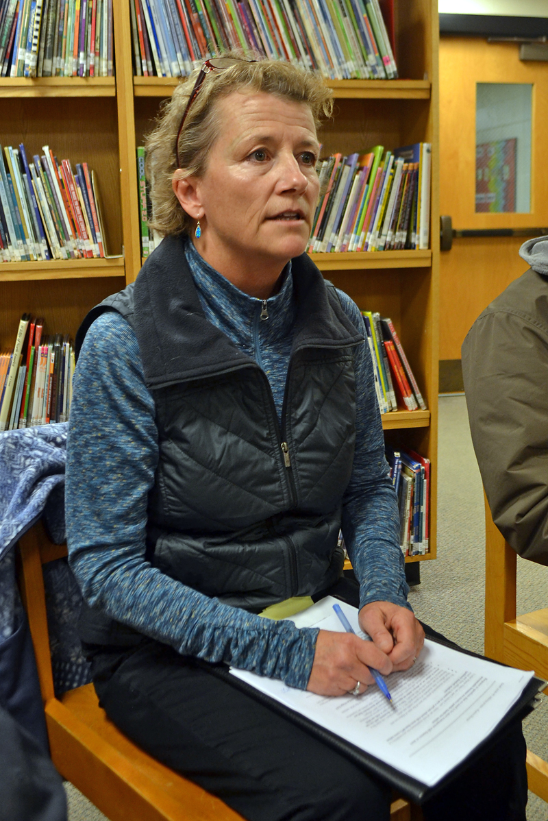 Lincoln Academy Trustee Karen Moran addresses the Great Salt Bay School Committee on Wednesday, Nov. 8. (Maia Zewert photo)