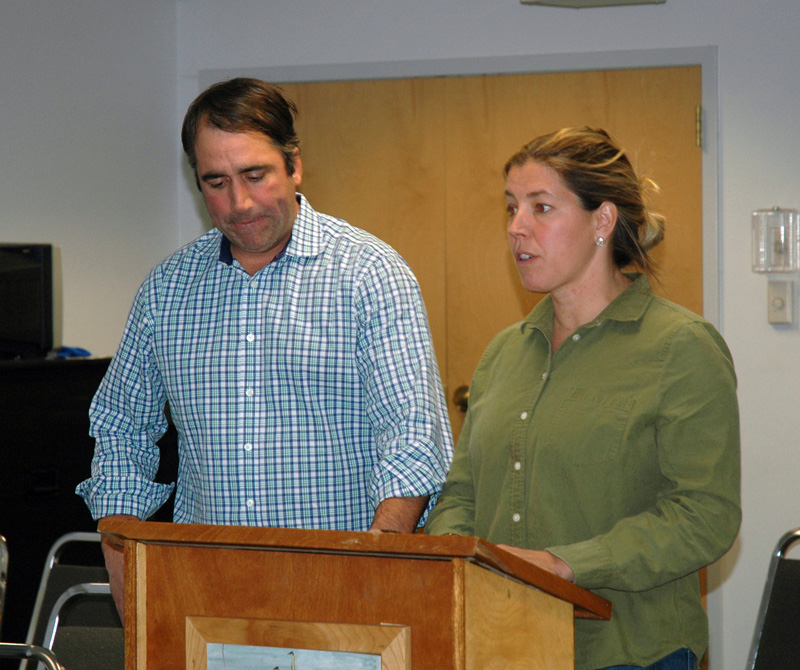 Josh and Sarah Pike discuss their Tops'l Farm with the Waldoboro Planning Board on Wednesday, Nov. 8. (Alexander Violo photo)
