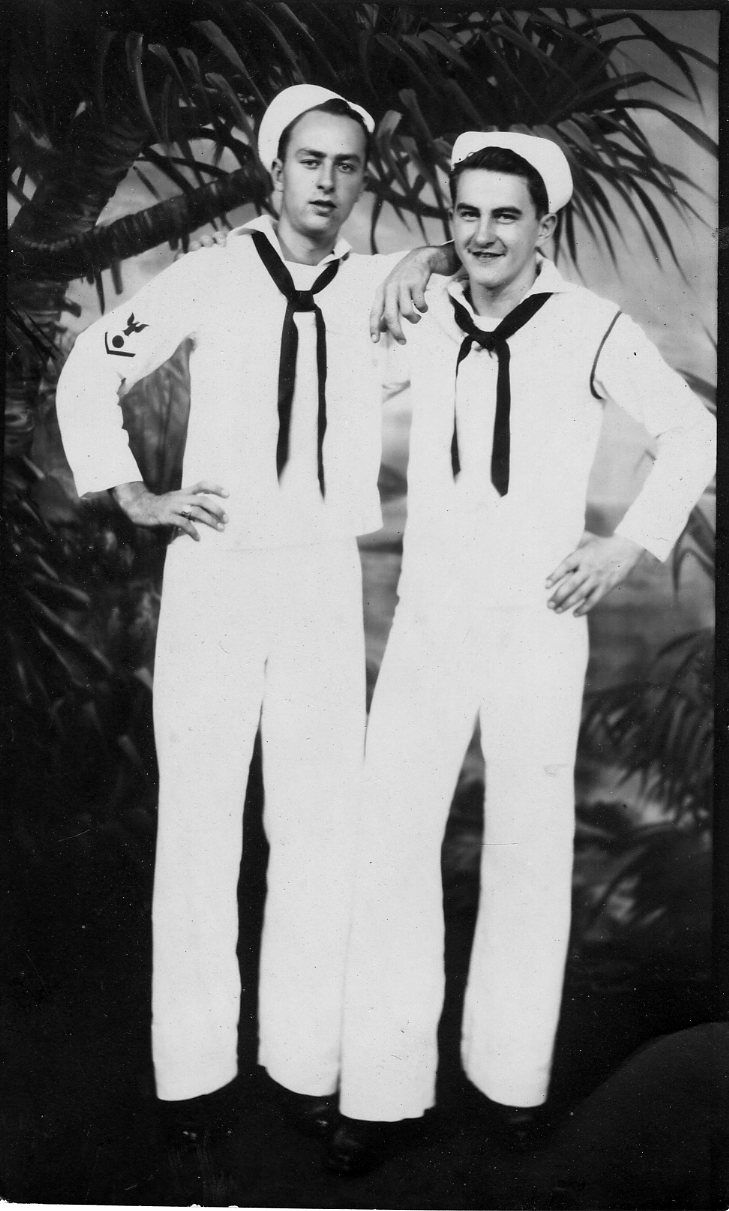 Albert R. Boynton (right) with John Henry Hawkins. The sailors served together on the USS Goodhue in the Pacific theater of World War II and remain friends more than 60 years later.