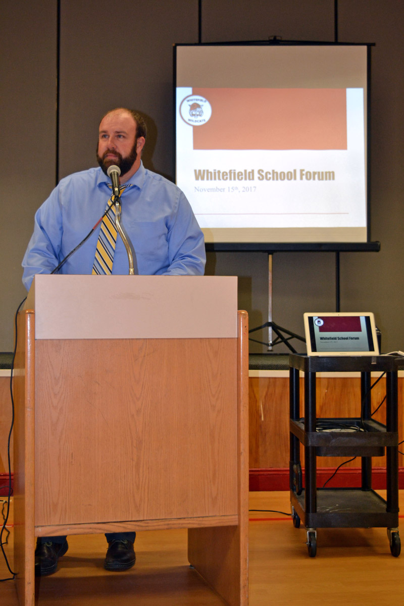 Whitefield Elementary School Principal Joshua McNaughton welcomes attendees to a community forum at the school Wednesday, Nov. 15. (Christine LaPado-Breglia photo)