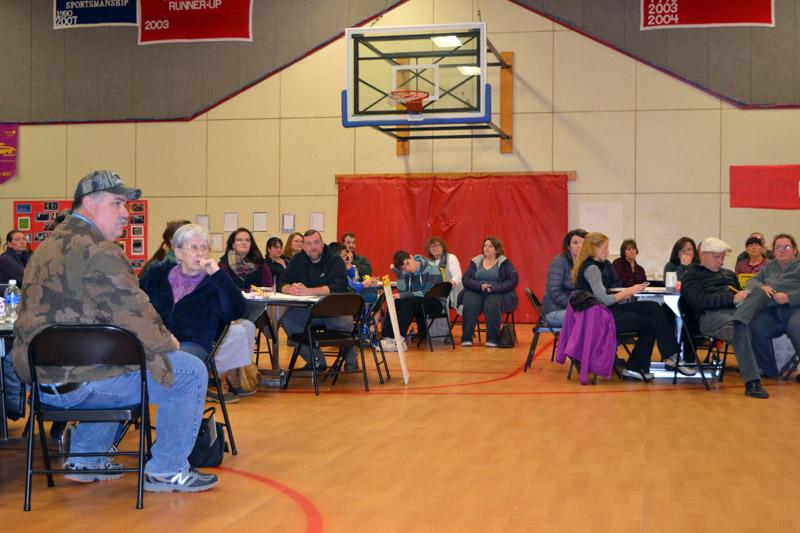 Community members fill the Whitefield Elementary School gym for a community forum Wednesday, Nov. 15. (Christine LaPado-Breglia photo)