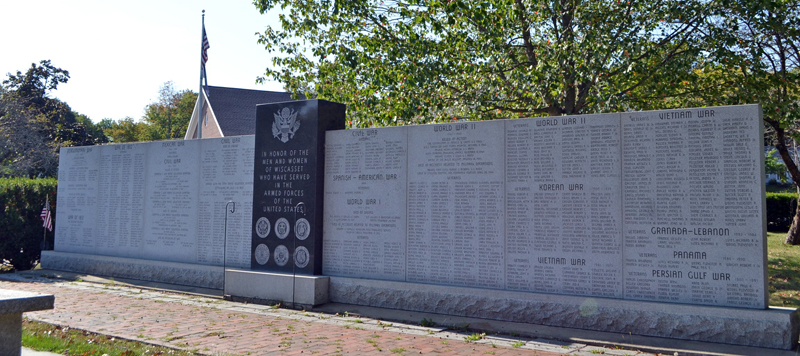 The Wiscasset veterans monument lists the names of veterans from the Revolutionary War to the present. (Charlotte Boynton photo)