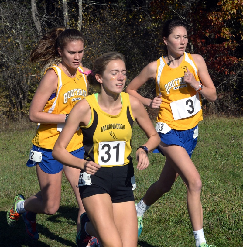 Boothbay Region girls cross-country runners Faith Blethen and Glory Blethen run in the state Class C championships. (Paula Roberts photo)