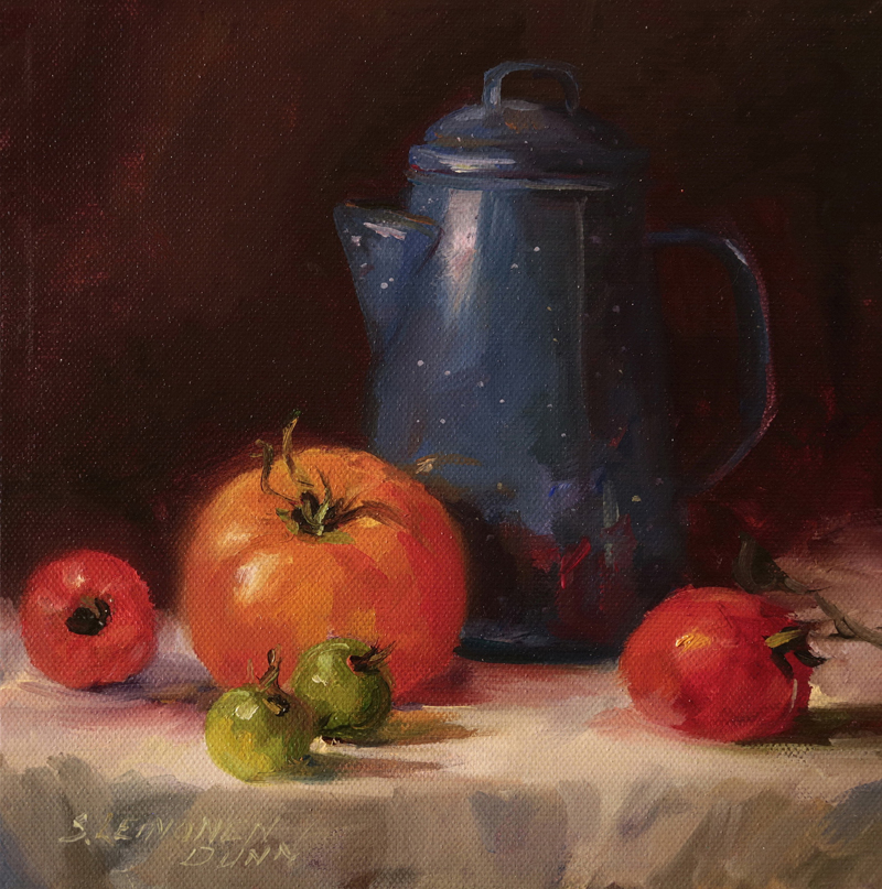 """Blue Coffee Pot with Tomatoes,"" an oil painting on canvas by Sandra Leinonen Dunn."