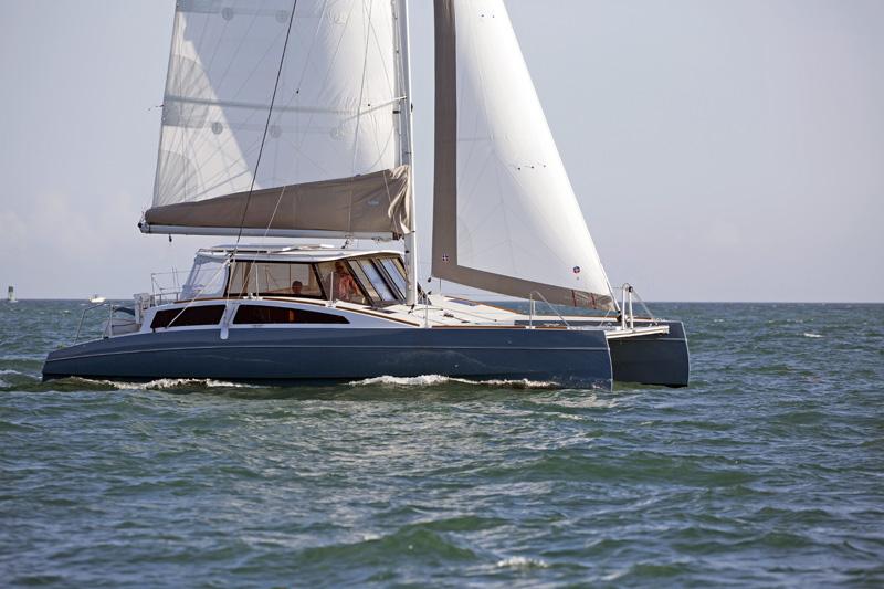 A Maine Cat 38 sails off the Miami coast.