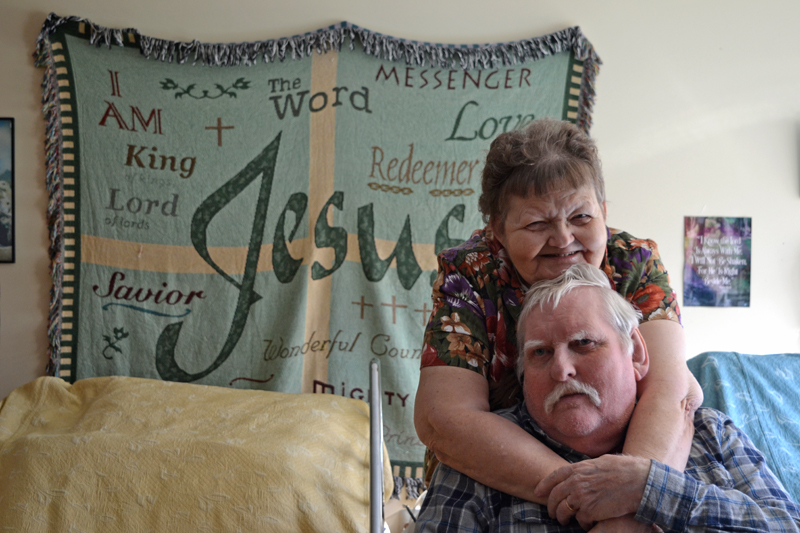 Marilyn and Elden Beane celebrate their 50th wedding anniversary in their room at Crawford Commons in Union on Friday, Nov. 10. (Christine LaPado-Breglia photo)