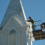 Steeple at Bunker Hill Church Gets Paint Job