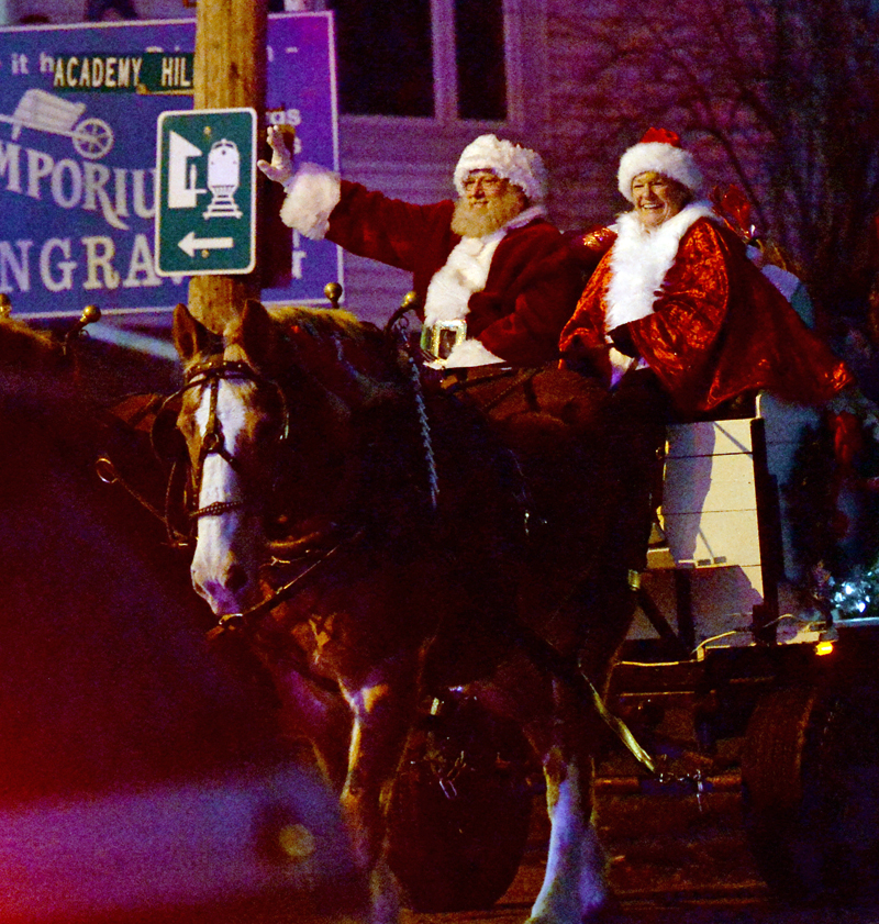 Santa and Mrs. Claus lead the Villages of Light parade through Newcastle and Damariscotta. (Paula Roberts photo)