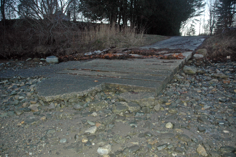 The roughly 18-year-old boat ramp at Storer Landing needs repairs, including additional cement and rebar, according to local shellfish harvester Bruce Anderson. (Alexander Violo photo)
