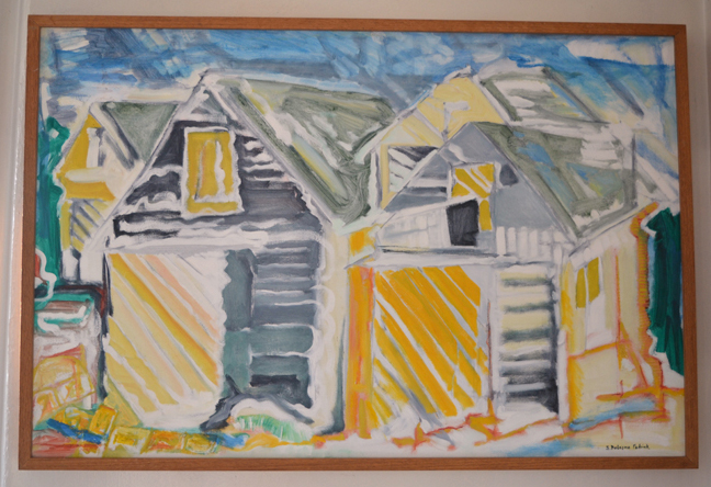 """Sally DeLorme Pedrick's painting """"Hopscotch Barn"""" depicts the four incarnations of the barn that now stands on her Round Pond property. (Christine LaPado-Breglia photo)"""