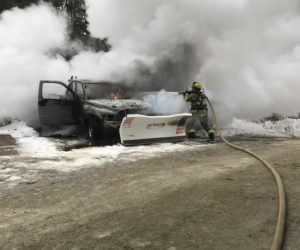Fire Claims Pickup in Damariscotta, Quick Response Saves Nearby Vehicle