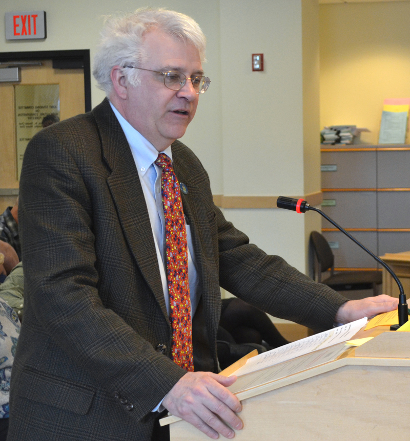 State Rep. Mick Devin, D-Newcastle, speaks during a public hearing in Augusta on  March 29. Devin pleaded guilty to misdemeanor operating under the influence Dec. 4. (Maia Zewert photo, LCN file)