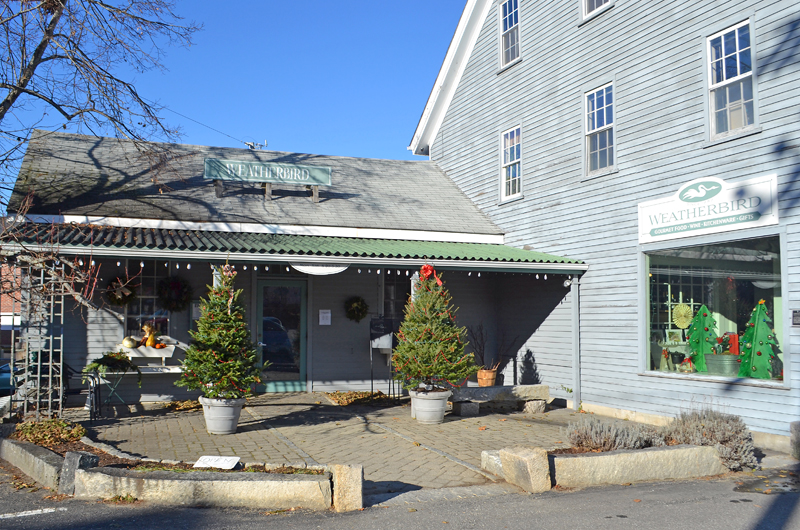 The entrance to Weatherbird at 72 Courtyard St. in Damariscotta. (Maia Zewert photo)