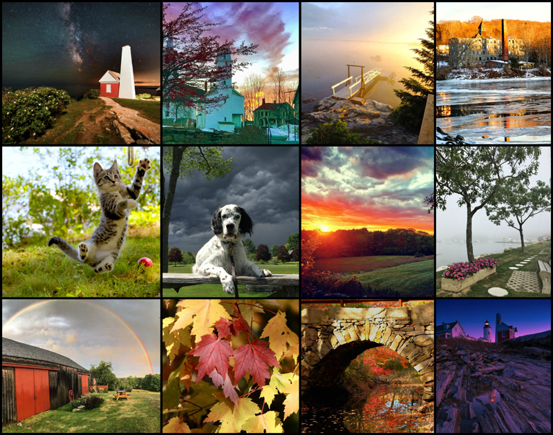 Readers will choose the best photo of the 2017 #LCNme365 photo contest from among the 12 monthly winners (above) by voting online at lcnme.com/photo-contest. The winning photographer will receive a prize package from Lincoln County Publishing Co.