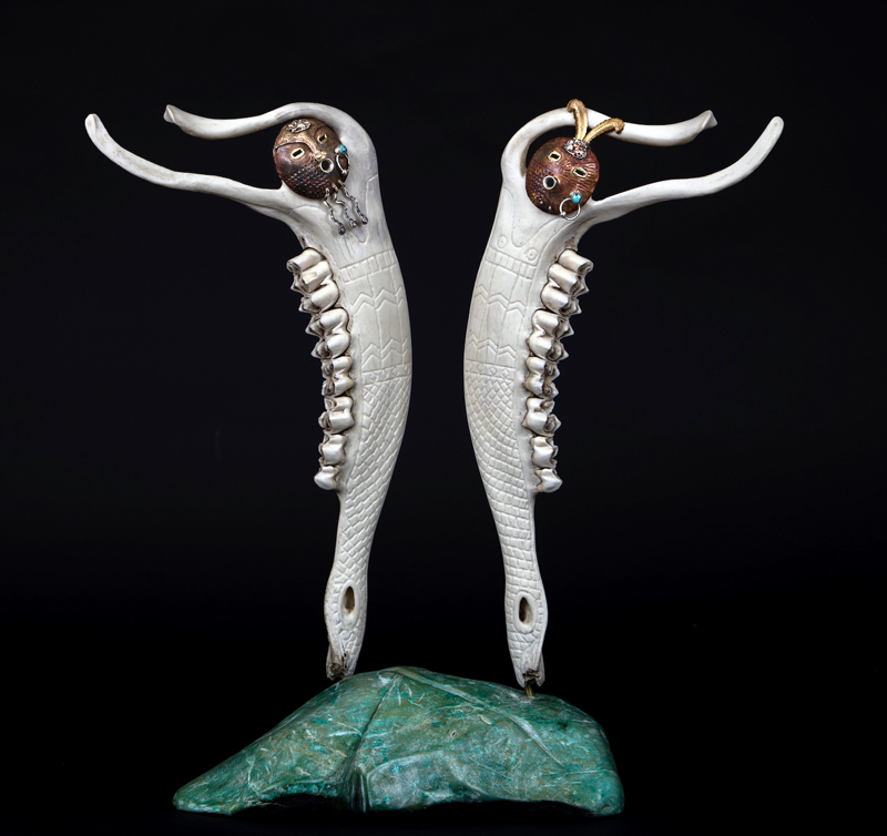 """""""The Twins,"""" an elk mandible sculpture by Keith Plummer. (Photo courtesy Keith Plummer)"""