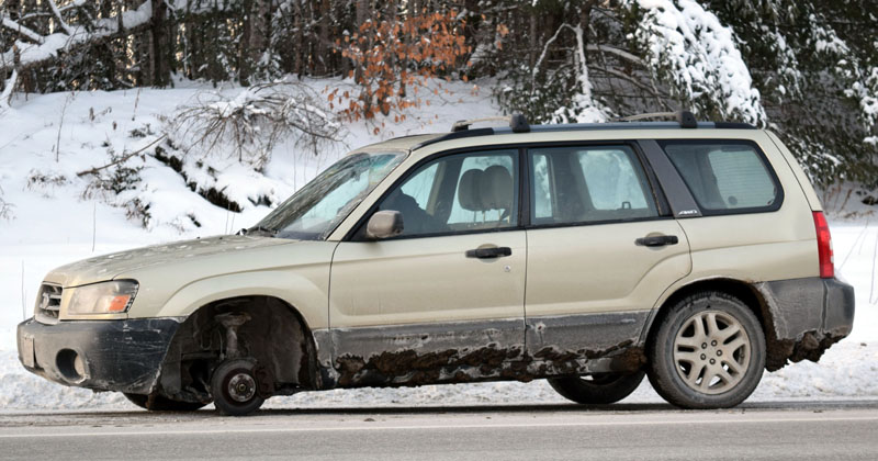 A 2003 Subaru Forester lost its front driver's side wheel while southbound on Route 1 in Nobleboro the afternoon of Wednesday, Dec. 27. The wheel struck and damaged two other vehicles. (J.W. Oliver photo)