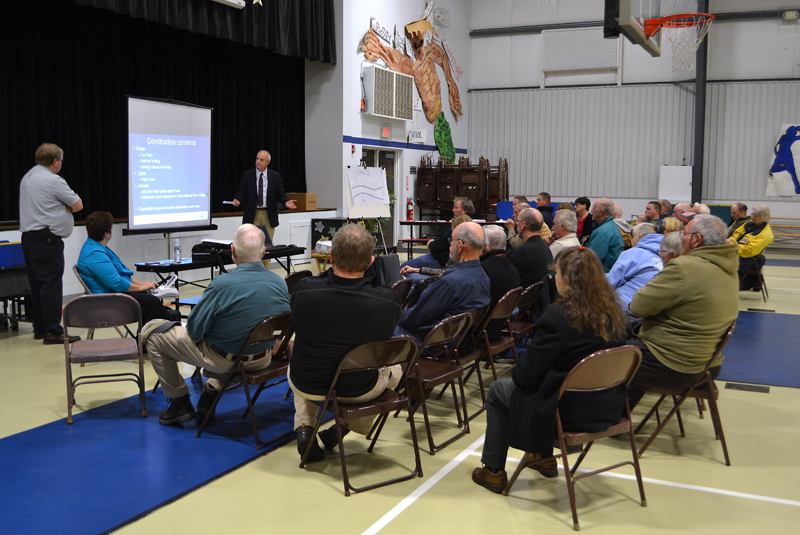 South Bristol residents listen to a presentation by representatives of the Maine Department of Transportation at South Bristol School on Wednesday, Dec. 7. (Maia Zewert photo)