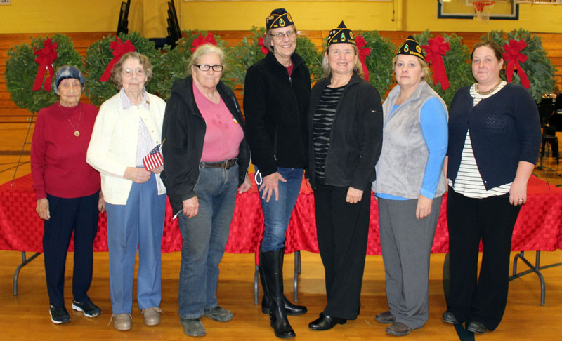 Servicewomen from World War II to the present were honored during the Wreaths Across America ceremony at Medomak Valley High School in Waldoboro on Sunday, Dec. 10. From left: Frances Lash, Hilma Foster, Carol Nash, Dawn Wright, Donna Wallace, Angela Nelder, and Jessica Dodge. (Photo courtesy Lisa Gunn)