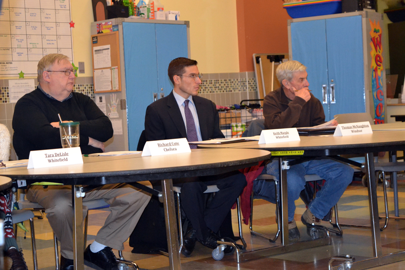 From left: RSU 12 Board of Directors members Richard Cole, of Chelsea; Keith Marple, of Whitefield; and Thomas McNaughton, of Windsor; listen to a presentation by Superintendent Howard Tuttle during a meeting at Chelsea Elementary School on Thursday, Dec. 14. (Christine LaPado-Breglia photo)