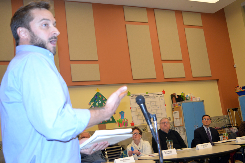 From left: Whitefield resident Clint Towle addresses the RSU 12 Board of Directors as board members Tara DeLisle, Richard Cole, and Keith Marple look on. (Christine LaPado-Breglia photo)