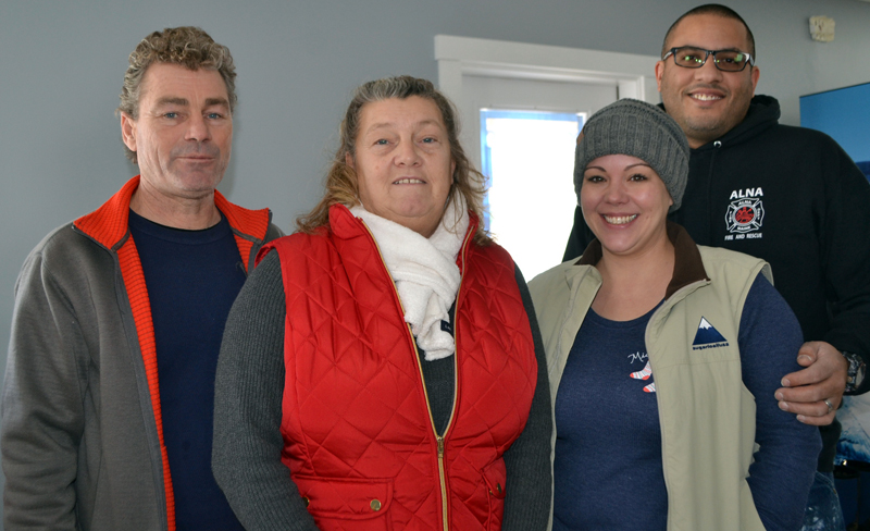 From left: the owners of The Cracked Egg restaurant in Wiscasset, John and Tammy Chapman, take a break from preparations from the opening, along with their helpers, Jenny and David Jordan, on Tuesday, Dec. 26. (Charlotte Boynton photo)